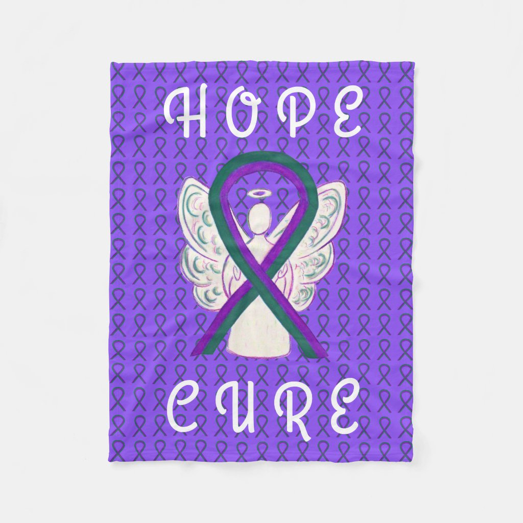 Anal Cancer Awareness Ribbon Soft Chemo Blankets