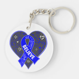 Anal Cancer Believe Ribbon Heart Double-Sided Round Acrylic Keychain