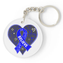 Anal Cancer Believe Ribbon Heart Keychain