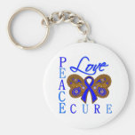 Anal Cancer Butterfly Peace Love Cure Basic Round Button Keychain