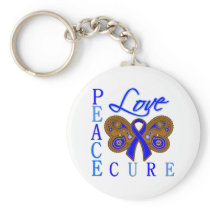 Anal Cancer Butterfly Peace Love Cure Keychain