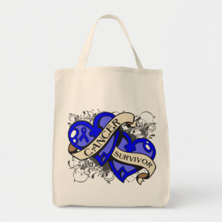 Anal Cancer Cancer Survivor Dual Hearts Grocery Tote Bag