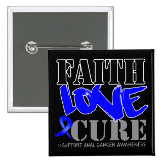 Anal Cancer Faith Love Cure 2 Inch Square Button