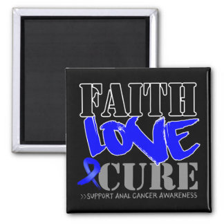 Anal Cancer Faith Love Cure 2 Inch Square Magnet
