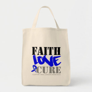 Anal Cancer Faith Love Cure Grocery Tote Bag