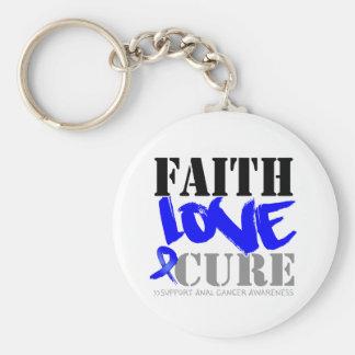 Anal Cancer Faith Love Cure Basic Round Button Keychain