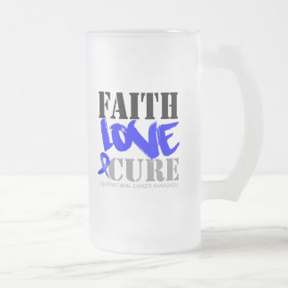 Anal Cancer Faith Love Cure 16 Oz Frosted Glass Beer Mug