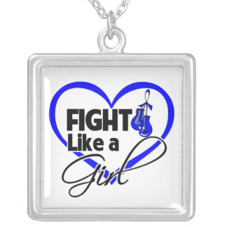 Anal Cancer Fight Like a Girl Heart Square Pendant Necklace