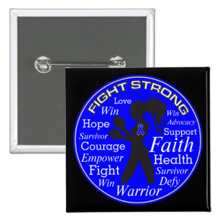 Anal Cancer Fight Strong Motto Collage 2 Inch Square Button