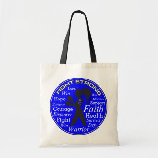 Anal Cancer Fight Strong Motto Collage Budget Tote Bag