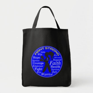 Anal Cancer Fight Strong Motto Collage Grocery Tote Bag