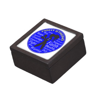 Anal Cancer Fight Strong Motto Collage Premium Trinket Box