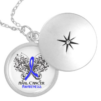 Anal Cancer Flourish Butterfly Ribbon Round Locket Necklace