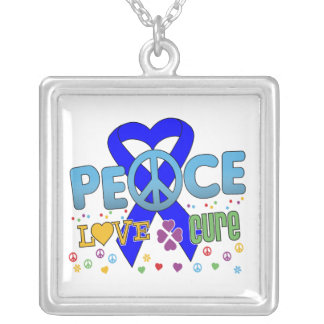 Anal Cancer Groovy Peace Love Cure Square Pendant Necklace