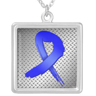 Anal Cancer Grunge Ribbon Metal Style Square Pendant Necklace