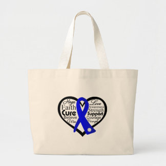 Anal Cancer Heart Ribbon Collage Jumbo Tote Bag