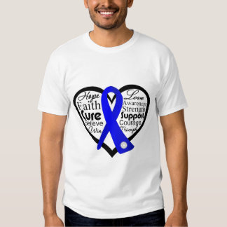 Anal Cancer Heart Ribbon Collage T-shirts
