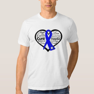 Anal Cancer Heart Ribbon Collage Tee Shirts