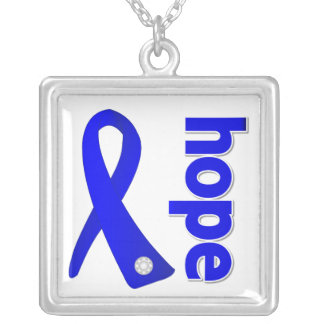 Anal Cancer Hope Blue Ribbon Square Pendant Necklace