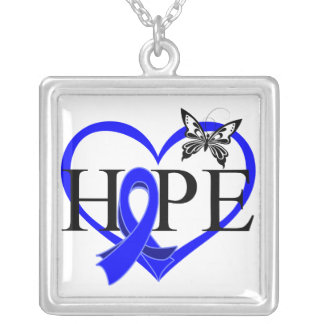 Anal Cancer Hope Butterfly Heart Décor Square Pendant Necklace