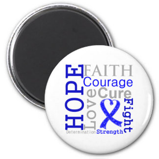 Anal Cancer Hope Faith Motto 2 Inch Round Magnet