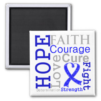 Anal Cancer Hope Faith Motto 2 Inch Square Magnet