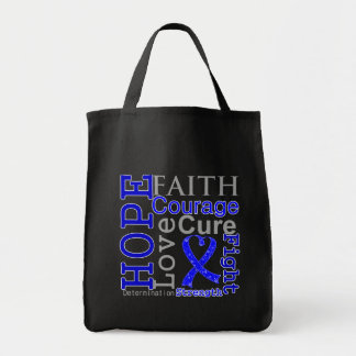 Anal Cancer Hope Faith Motto Grocery Tote Bag