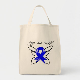 Anal Cancer Hope Love Faith Grocery Tote Bag