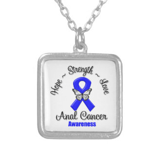 Anal Cancer Hope Strength Love Square Pendant Necklace