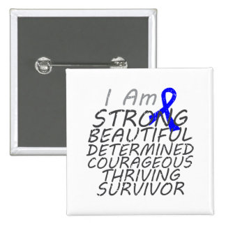 Anal Cancer I Am Strong Survivor 2 Inch Square Button