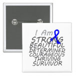 Anal Cancer I Am Strong Survivor Pinback Button