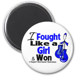 Anal Cancer I Fought Like a Girl and Won 2 Inch Round Magnet