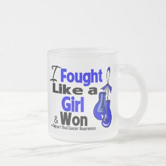 Anal Cancer I Fought Like a Girl and Won 10 Oz Frosted Glass Coffee Mug