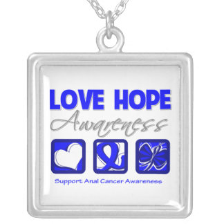 Anal Cancer Love Hope Awareness Square Pendant Necklace
