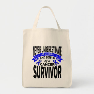 Anal Cancer Never Underestimate Strength Grocery Tote Bag