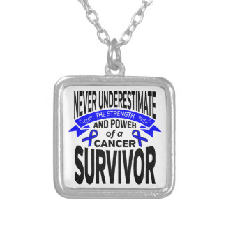 Anal Cancer Never Underestimate Strength Square Pendant Necklace