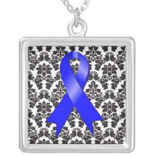 Anal Cancer Ribbon Damask Deco Square Pendant Necklace