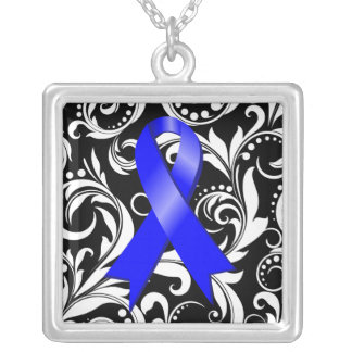 Anal Cancer Ribbon Deco Floral Noir Square Pendant Necklace
