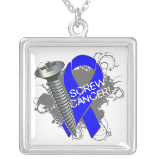 Anal Cancer - Screw Cancer Square Pendant Necklace