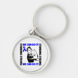 Anal Cancer Standing Strong We Can Do It Silver-Colored Round Keychain