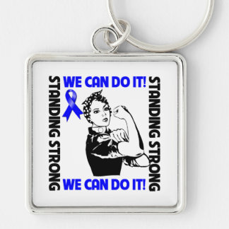 Anal Cancer Standing Strong We Can Do It Silver-Colored Square Keychain