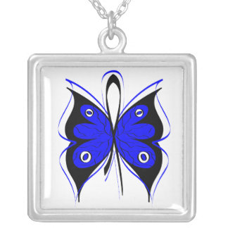Anal Cancer Stylish Butterfly Awareness Ribbon Square Pendant Necklace