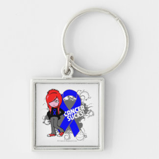 Anal Cancer Sucks Silver-Colored Square Keychain