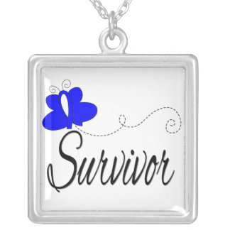 Anal Cancer Survivor Butterfly Ribbon Square Pendant Necklace