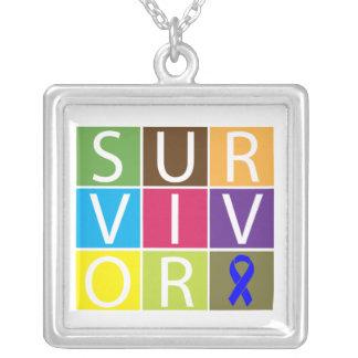 Anal Cancer Survivor Colorful Tiles Square Pendant Necklace