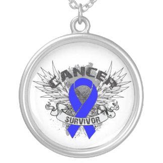 Anal Cancer Survivor Grunge Winged Round Pendant Necklace