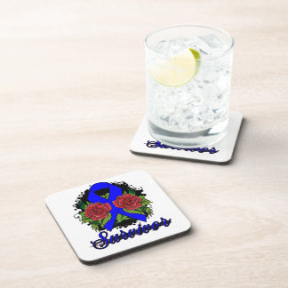 Anal Cancer Survivor Rose Grunge Tattoo Beverage Coasters