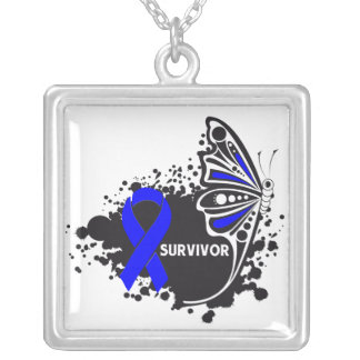 Anal Cancer Survivor Tattoo Butterfly Square Pendant Necklace