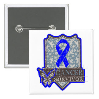 Anal Cancer Survivor Vintage Butterfly Buttons