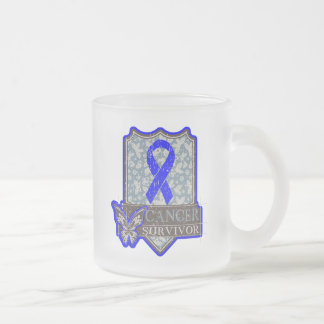 Anal Cancer Survivor Vintage Butterfly 10 Oz Frosted Glass Coffee Mug